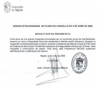 Resolución de Suspensión del Pleno Municipal